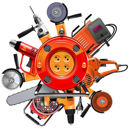 Vector Cable Reel with Power Tools isolated on white background Illustration