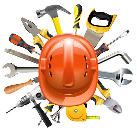 slotted: Vector Construction Helmet with Tools isolated on white background
