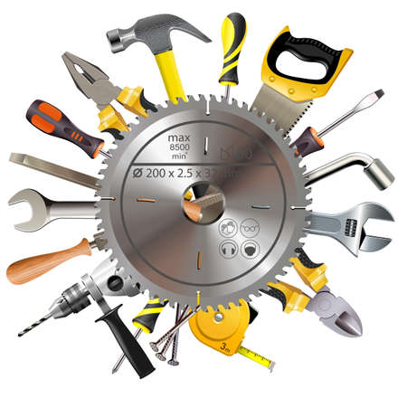 Vector Saw Blade with Tools isolated on white background Illustration