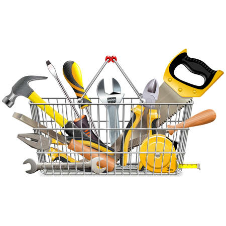 Vector Supermarket Basket with Instruments isolated on white background