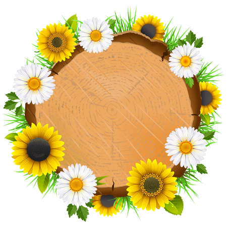 Vector Wooden Board with Flowers isolated on white background