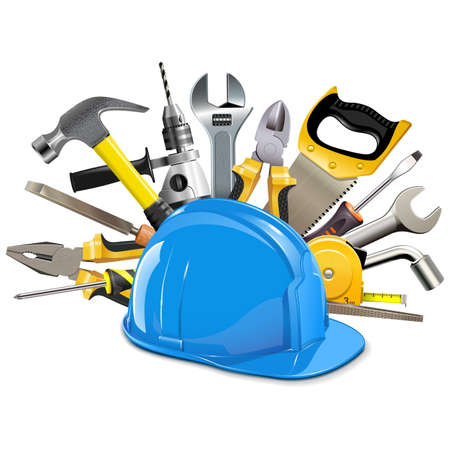 slotted: Vector Construction Helmet with Instruments isolated on white background Illustration