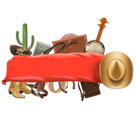 Vector Festive Cowboy Banner isolated on white background Illustration
