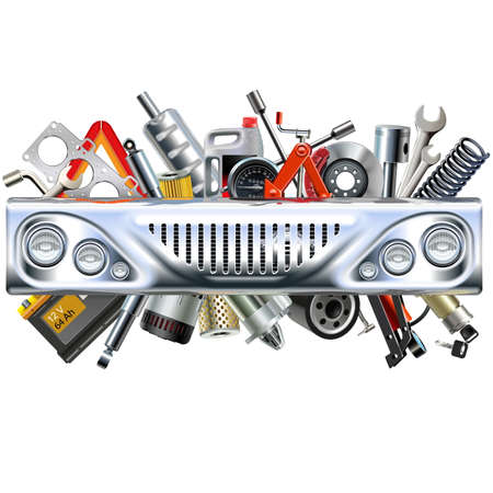 Vector Front Car Part with Car Spares isolated on white background