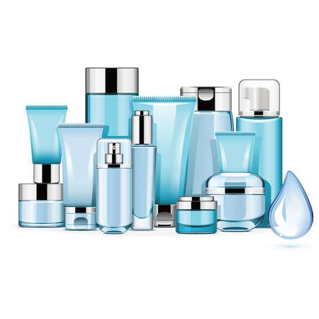 Vector Hydrating Cosmetics geïsoleerd op een witte achtergrond