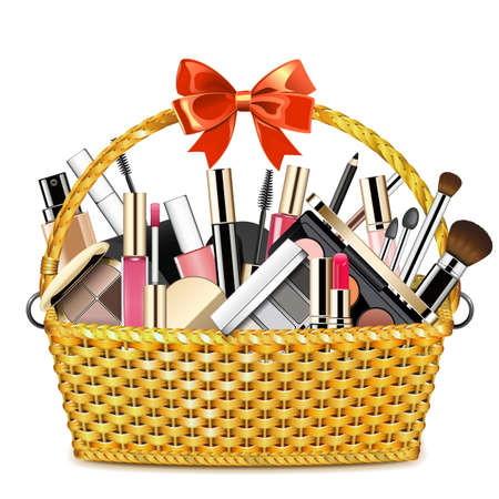 Vector Basket with Makeup isolated on white backdrop