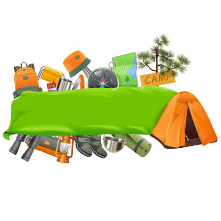 Vector Camping Banner isolated on white backdrop.