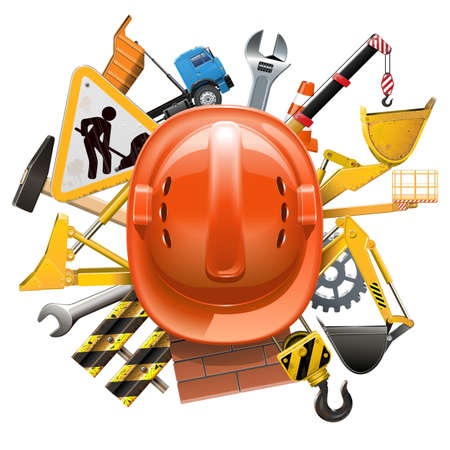 Vector Construction Concept with Helmet isolated on white backdrop. Illustration