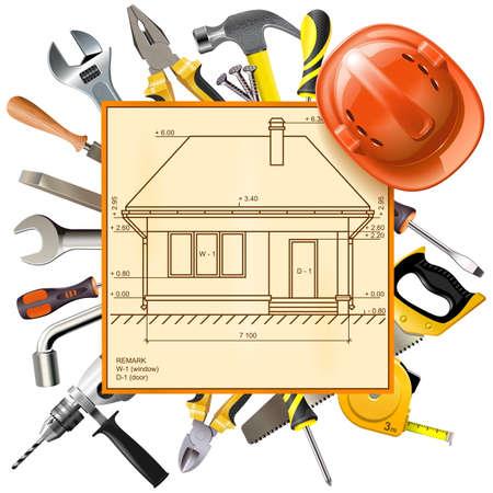Vector Construction Layout isolated on white background Illustration