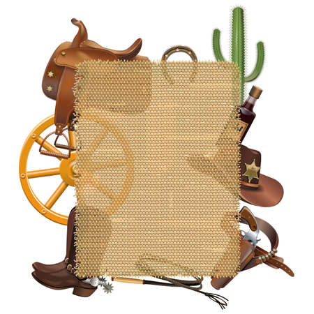 prickles: Vector Cowboy Sackcloth Frame isolated on white backdrop.