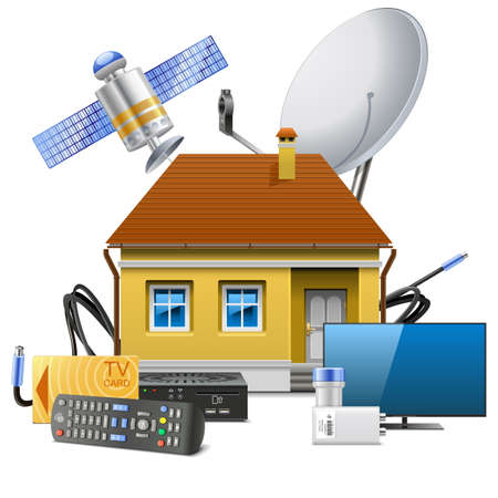 Vector House with Satellite Equipment isolated on white backdrop