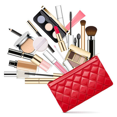 Vector Makeup Bag isolated on white backdrop Illustration