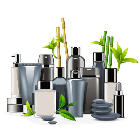 cosmetics background: Vector Male Cosmetics isolated on white background Illustration