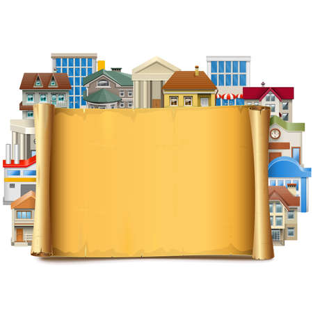 frontage: Vector Old Scroll with Buildings isolated on white backdrop.