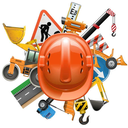 leveling: Vector Road Construction Concept with Helmet isolated on white backdrop.