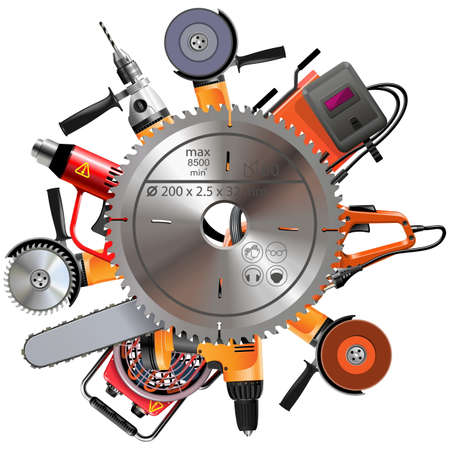 angle grinder: Vector Saw with Power Tools isolated on white backdrop.