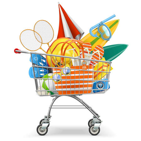 sun: Vector Supermarket Cart with Beach Accessories isolated on white backdrop.