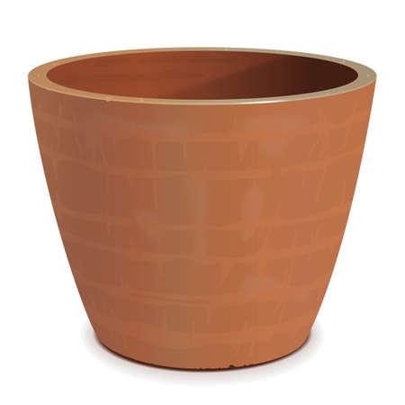 Vector Ceramic Flower Pot isolated on white background