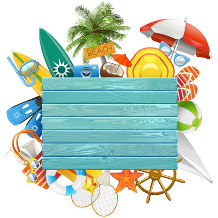Vector Beach Concept with Blue Board isolated on white background Illustration