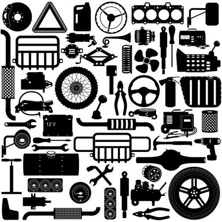 Vector Car Parts Pictogram isolated on white background