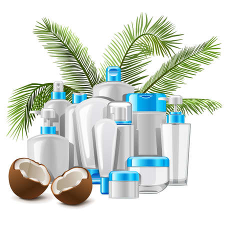 Vector Coconut Cosmetics isolated on white background