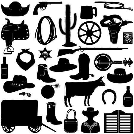 Vektor-Cowboy-Piktogramme lokalisiert auf weißem Hintergrund Vektorgrafik
