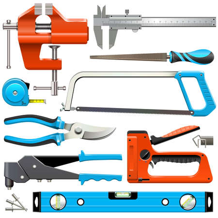 Vector Hand Tools Icons geïsoleerd op een witte achtergrond
