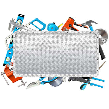 Vector Metal Frame with Hand Tools isolated on white background