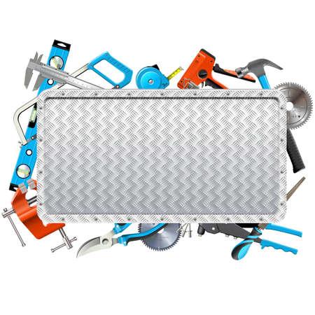 Vector Metalen Frame Met Handgereedschap Geïsoleerd op een witte achtergrond Stock Illustratie