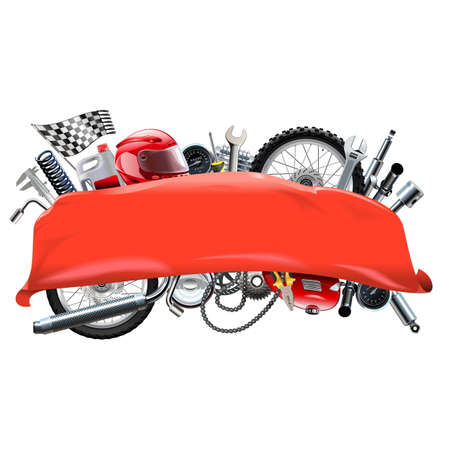 damper: Vector Red Banner with Motorcycle Spares isolated on white background