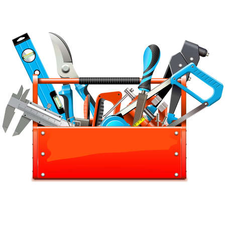 vise: Vector Toolbox with Hand Tools isolated on white background