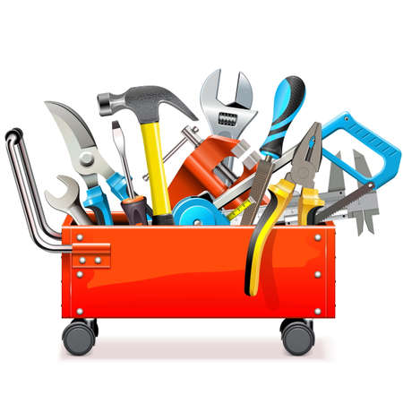 Vector Toolbox Trolley with Tools isolated on white background Illustration