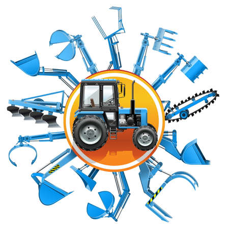 fork lifts trucks: Vector Tractor Equipment Concept isolated on white background Illustration