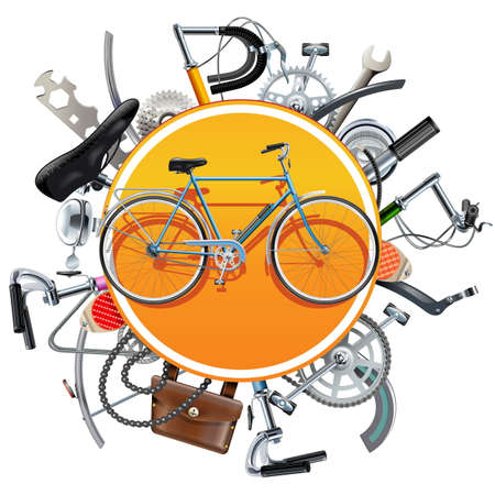 Vector Bicycle Spares Concept with Bike isolated on white background