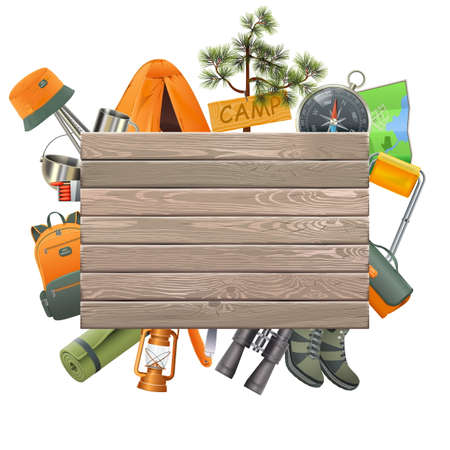 Vector Camping Concept with Wooden Plank isolated on white background Иллюстрация