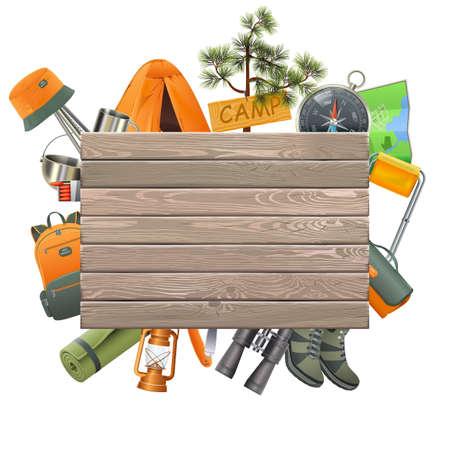 Vector het Kamperen Concept met Houten die Plank op witte achtergrond wordt geïsoleerd