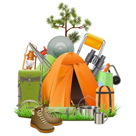Vector Camping Tent isolated on white background