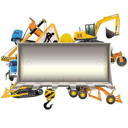 Vector Construction Frame with Bulldozer Shovel isolated on white background