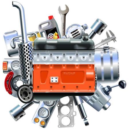 Vecteur, moteur, camion, pièces de rechange, isolé, blanc, fond Vecteurs