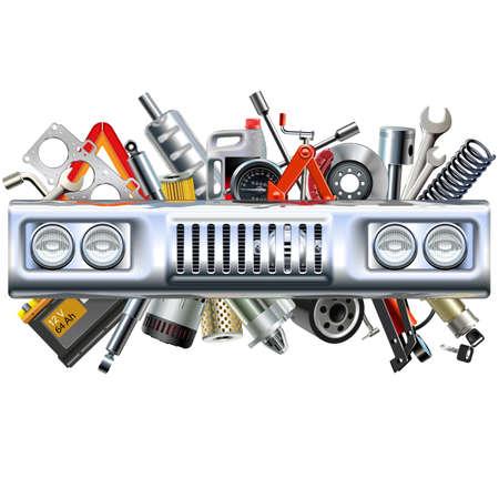 Vector Front Car Part met Spares geïsoleerd op witte achtergrond