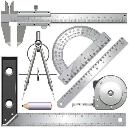 Vector meetinstrumenten geïsoleerd op een witte achtergrond