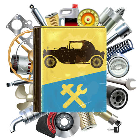 Vector Old Automobile Repair Book with Car Spares isolated on white background
