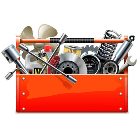 Vector Red Toolbox with Car Parts isolated on white background