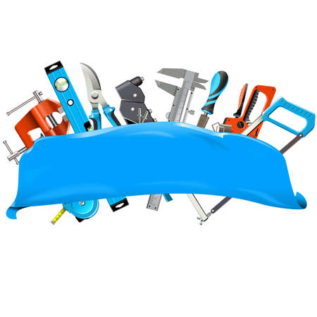 Blue Banner with Hand Tools isolated on white background