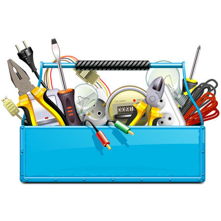 Vector Blue Toolbox with Electric Tools isolated on white background