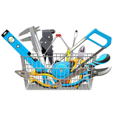 Vector Supermarket Basket with Hand Tools isolated on white background Illustration