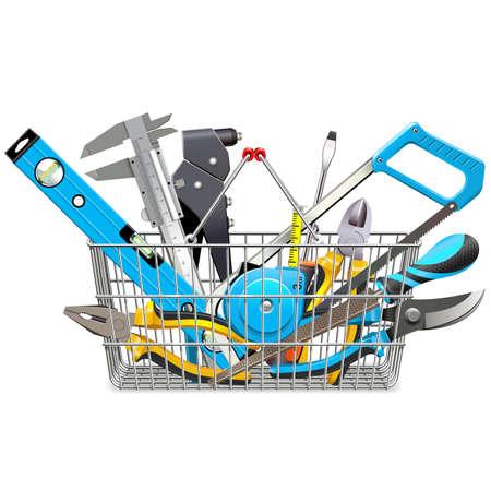 Vector Supermarket Basket with Hand Tools isolated on white background Ilustracja