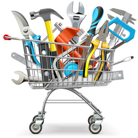 Vector Supermarket Trolley with Hand Tools isolated on white background Illustration