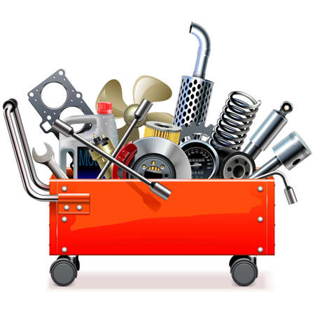 Vector Toolbox Trolley with Car Spares isolated on white background