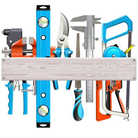 Vector houten plank met handgereedschap geïsoleerd op een witte achtergrond Stock Illustratie